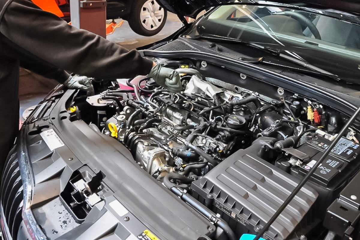 car undergoing a service at alpha garage