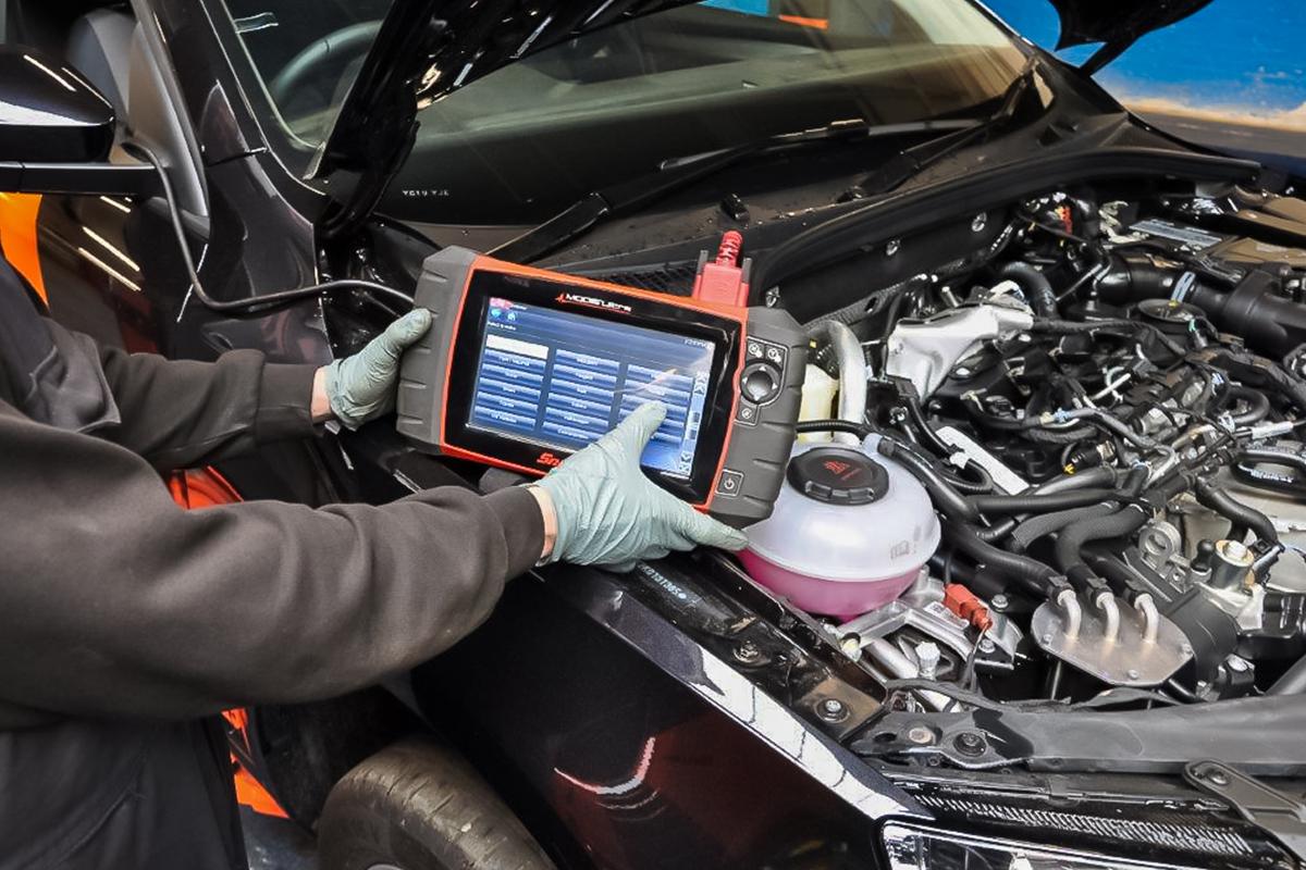 engine diagnostics taking place at alpha garage